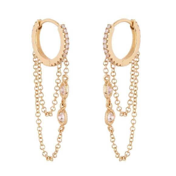 3a596009bb54f Lady Daisy 14k gold & diamond chain hoop earrings Boutique